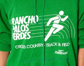 The Vintage 50/50 Green Rancho Palos Verdes Cross Country Track and Field 1980s Marathon Hoodie Sweatshirt