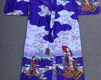 e09d7c4cd6 Juguemm Japanese Vintage Purple Kimono Robe