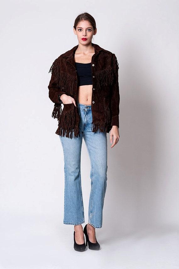 Brown Real Suede Vintage Cowboy Fringe Jacket