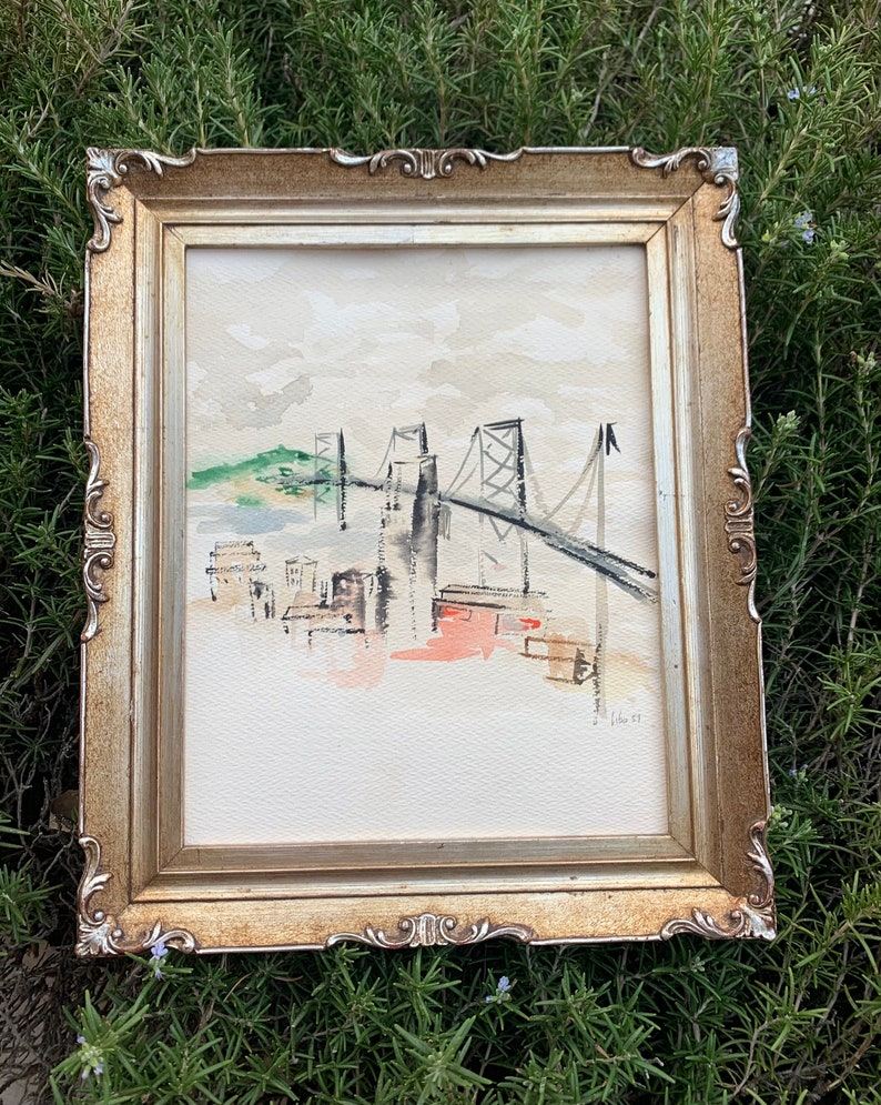 Libo 1957 Signed Vintage Bridge Metropolitan City Cityscape Watercolor 10.5x 12.5