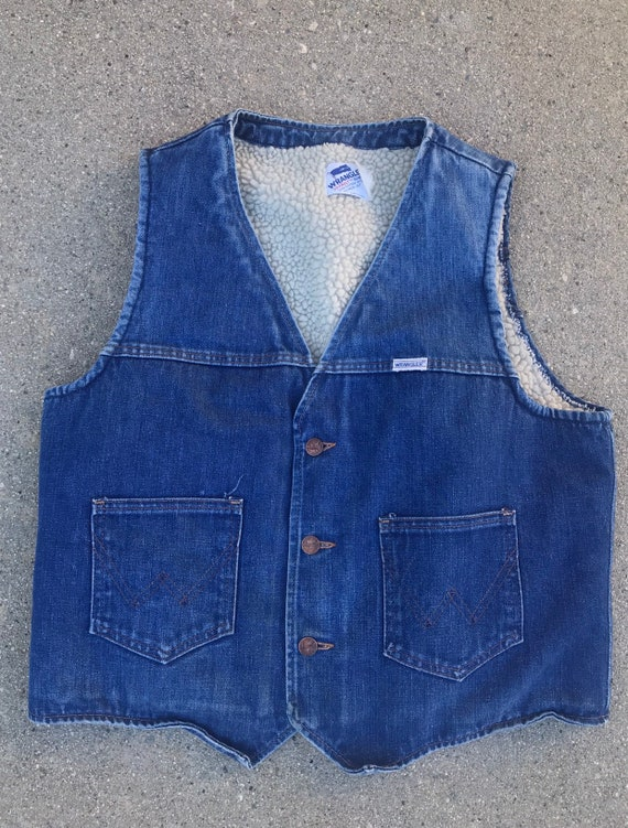Wrangler Vintage Dark Wash Denim Vest Size L