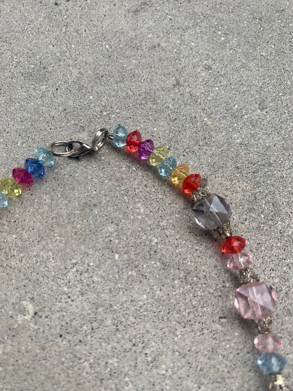 Rainbow Candy Colored Beaded Vintage Necklace - image 5