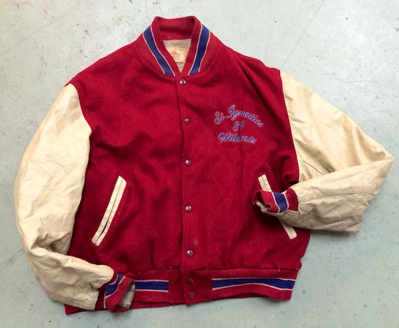 Red Vintage St. Ignacius 89 Wildcats Wool Leather