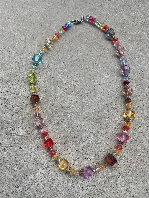 Rainbow Candy Colored Beaded Vintage Necklace