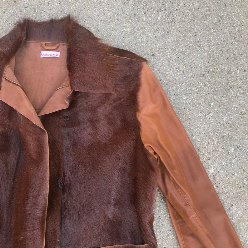Stella Forest Brown Goat Leather and Hair Vintage Jacket Size 2