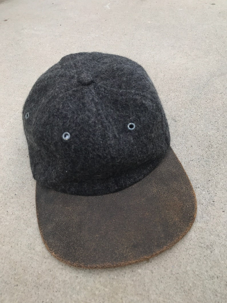 a8e6b5c20d49 Wool and Leather Suede Brim Vintage Baseball Cap   Etsy