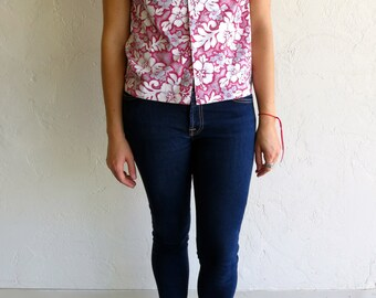 The Vintage Pink and White Floral Hawaiian Print Shirt