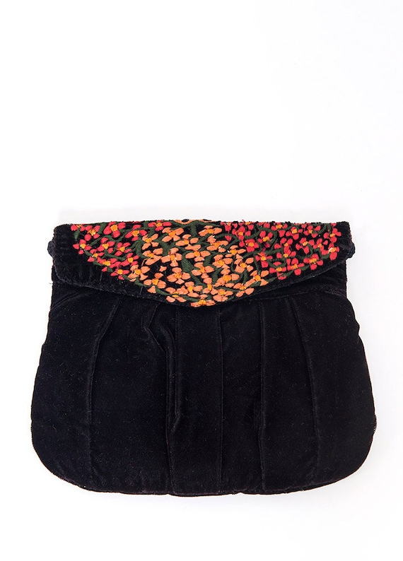 The Floral Embroidered Velvet Purse