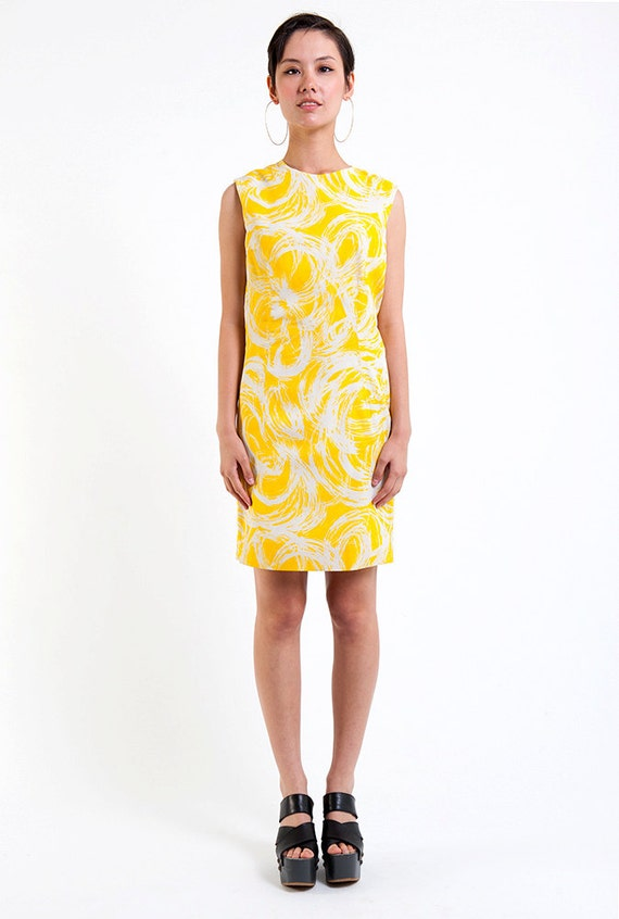 The Vintage Canary Yellow Swirl Shift Dress