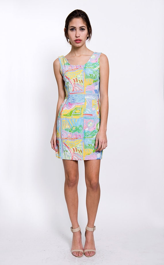 Pastel Beach Print Vintage Summer Mini Dress