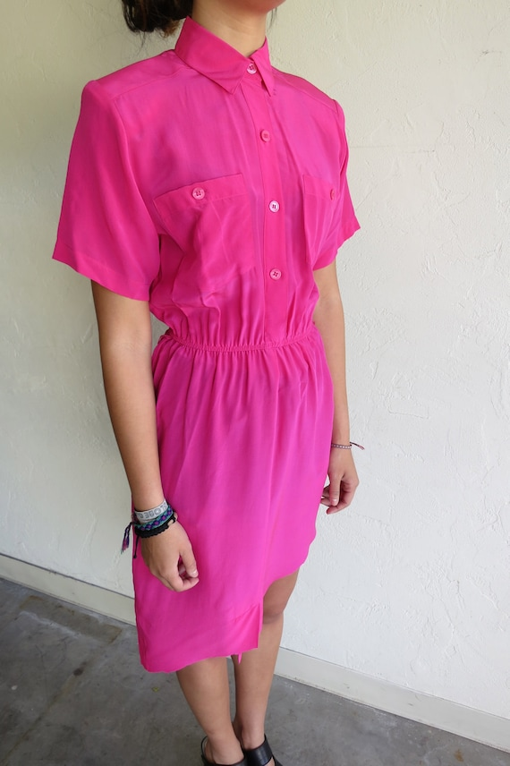 Hot Pink Asymmetrical Dress