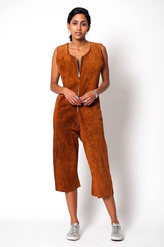 Suede Leather Western Style Vintage Culotte Jumpsu