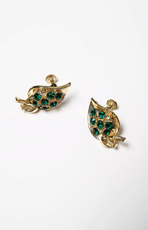 Gold Plated Green Stone Vintage Clip On Earrings C