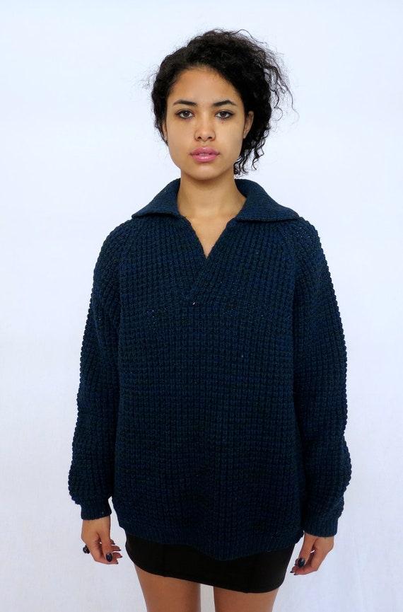 Navy Blue Waffle Vintage Oversized Knit Sweater