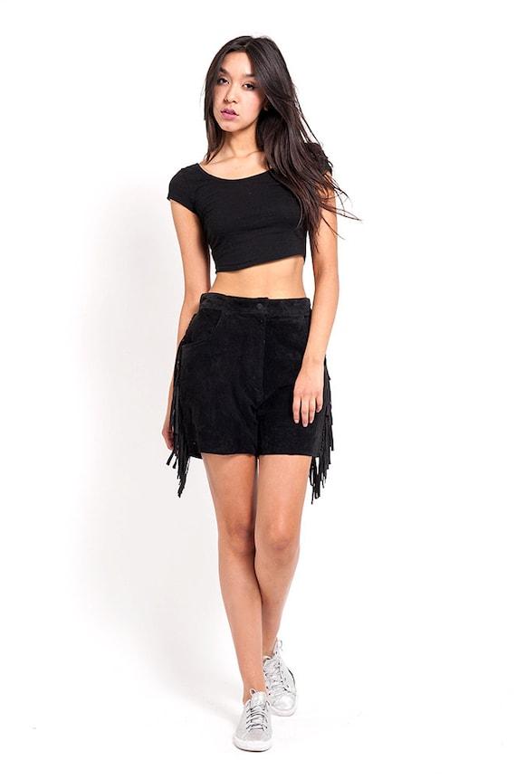 The Black High Waisted Fringe Suede Shorts