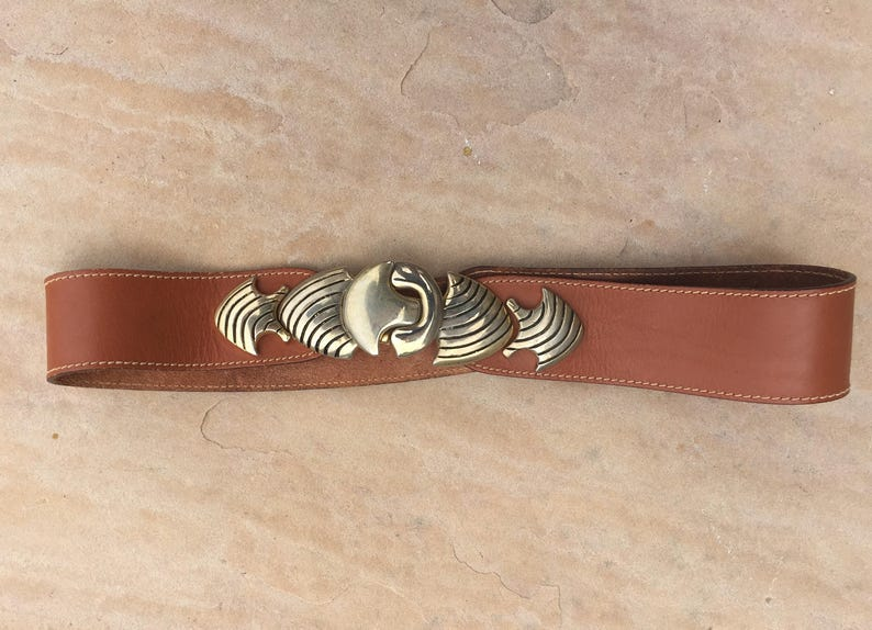 The Vintage Tan Gold Plated Buckle Italian Made Belt