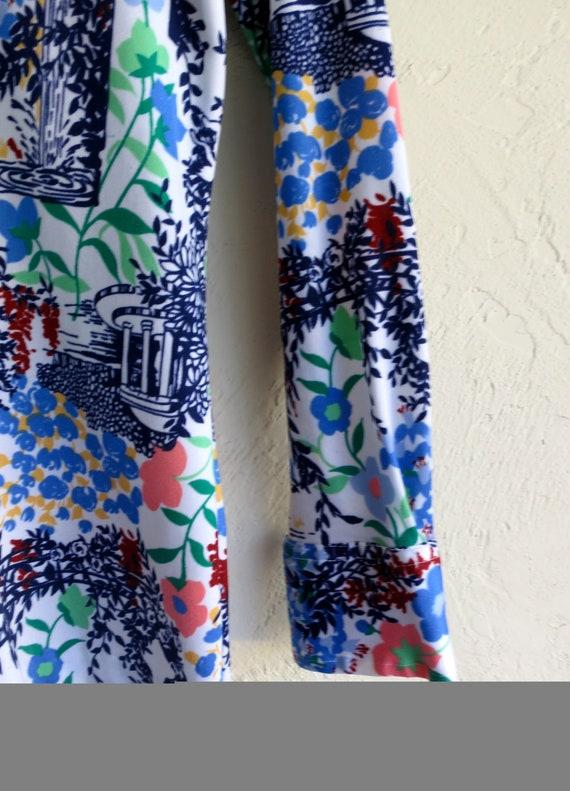 40% OFF PANDEMIC SALE Blue Floral Print Retro Vin… - image 3