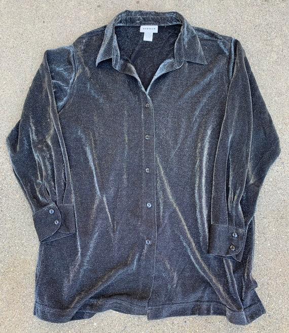 Silver Metallic Vintage Button Up Shirt Dress Tuni