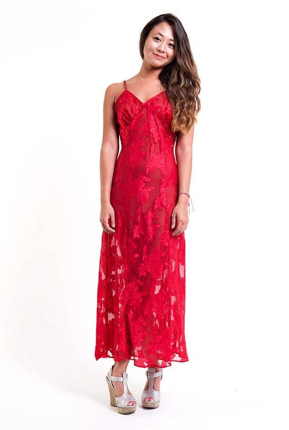 Red Lace Pretty Woman Vintage Long Slip Dress
