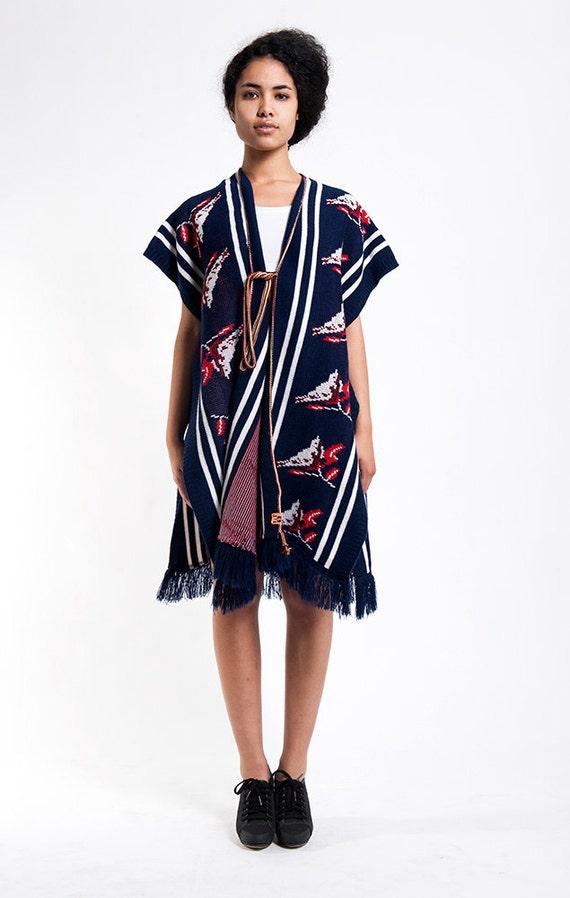 Navy Blue Birdie Sweater Wrap Vintage Shawl
