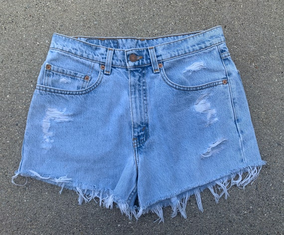 Levis Levi Strauss Light Wash Blue Denim Cut Off J