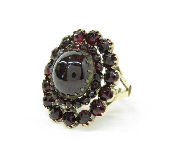 Victorian 14k Gold Garnet Ring; Vintage Garnet Rin