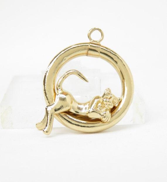14k Gold Cat Charm; Vintage Charm; Vintage Cat Cha