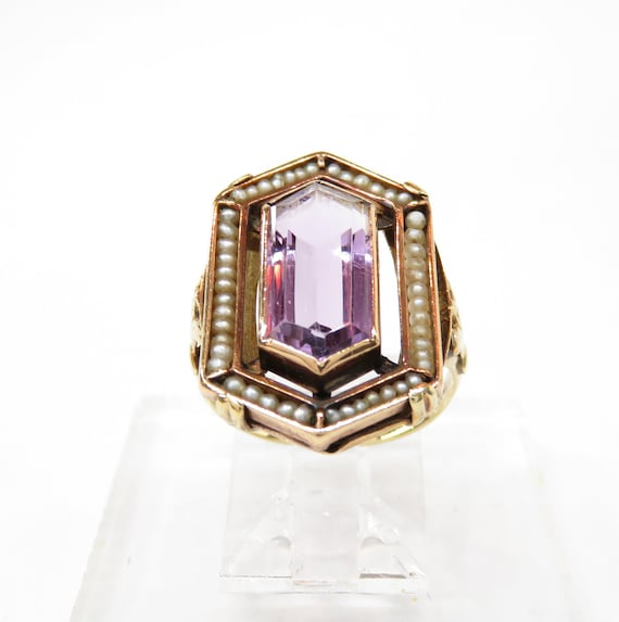 Victorian 14k Gold Amethyst and Seed Pearl Ring; … - image 3