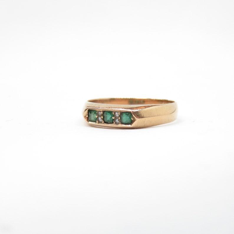 Victorian 10k Rose Gold and Green Garnet Band Ring; Vintage Wedding Band; Vintage Wedding Ring; Victorian Wedding Ring; Stacking Ring