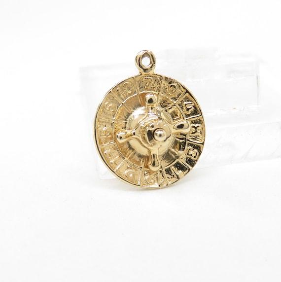 14k Gold Roulette Wheel Charm; 14k Gold Charm; Vin