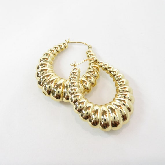 14k Gold Chunky Hoop Earrings; 14k Gold Hoops; Vin