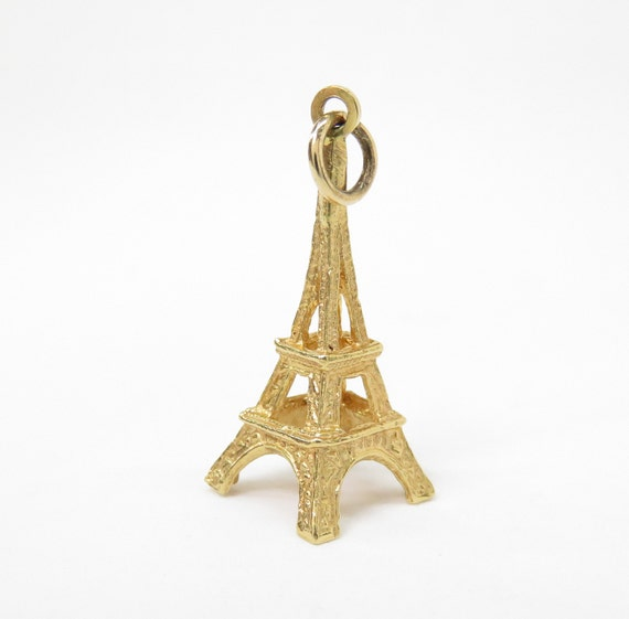 14k Gold Eiffel Tower Charm; Vintage Charm; Travel