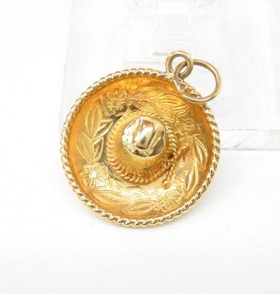 18k Gold Sombrero Charm; Vintage Charm; Retro Char