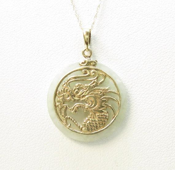 Vintage 14k Gold Jade Dragon Pendant; Natural Jade