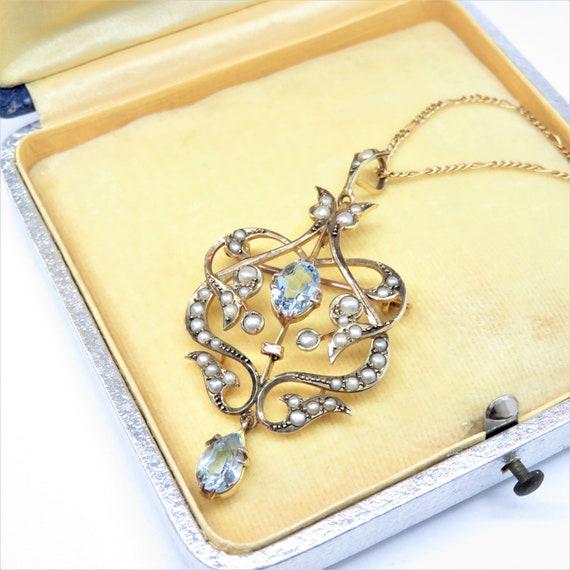 9k Gold Edwardian Aquamarine and Pearl Pendant Nec