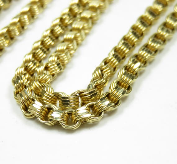 Victorian Style 10k Gold Chain; Heavy Gold Chain;