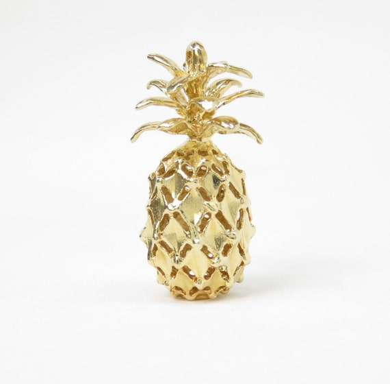 14k Gold Pineapple Charm; Vintage Charm; Retro Cha