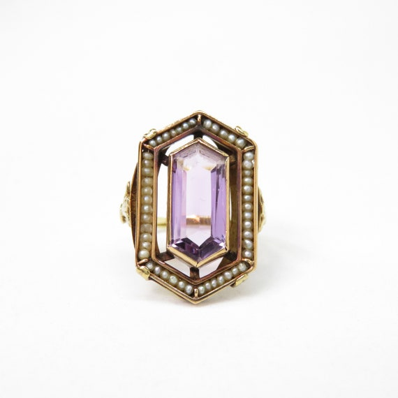 Victorian 14k Gold Amethyst and Seed Pearl Ring; … - image 2