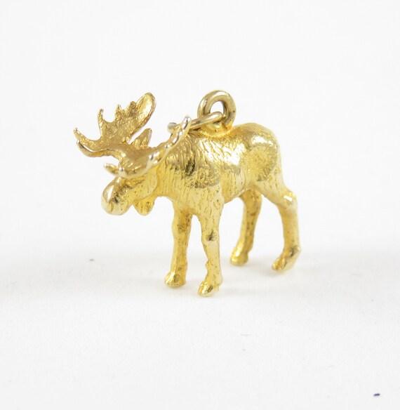 14k Gold Moose Charm; Vintage Charm; 14k Gold Char