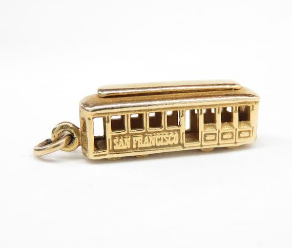 Vintage 14k Gold Cable Car Charm; San Francisco Ch