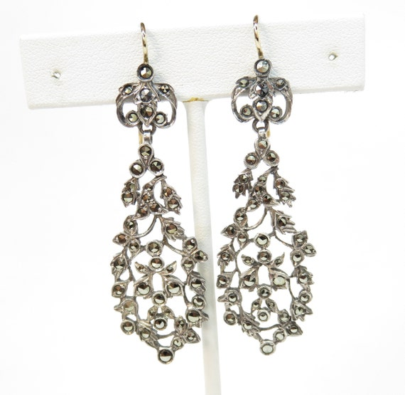 Victorian Sterling Silver and Marcasite Drop Earri