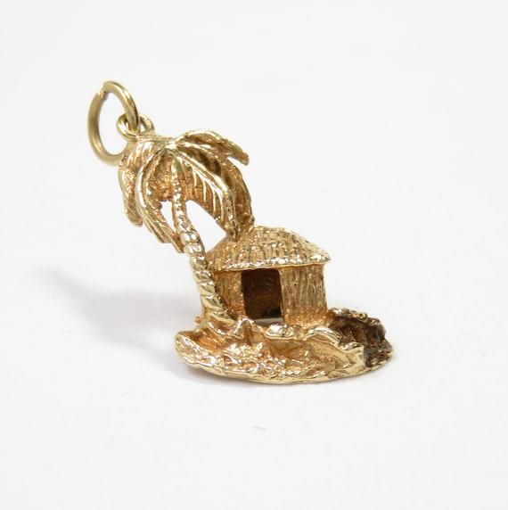 14k Gold Tropical Island Charm; Palm Tree Charm; Vintage Charm; Charm Bracelet; Retro Charm; 14k Gold Charm; Desert Island Charm