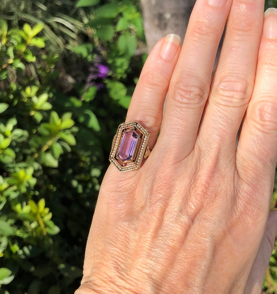Victorian 14k Gold Amethyst and Seed Pearl Ring; … - image 4