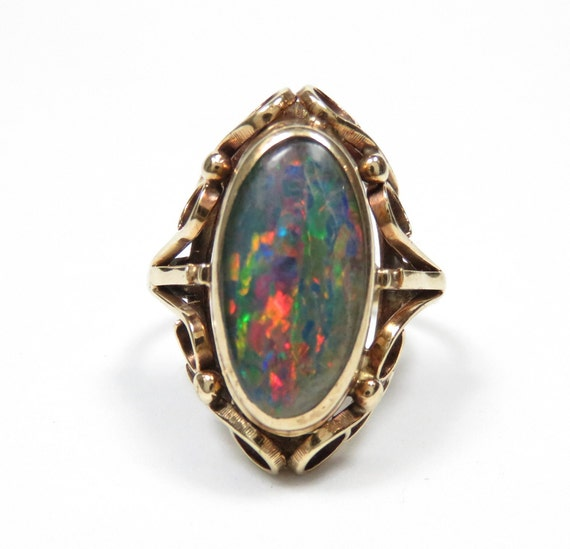 Victorian 10k Gold Opal Ring; Vintage Opal Ring; A