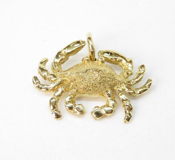 14k Gold Crab Charm; Vintage Charm; Animal Charm;