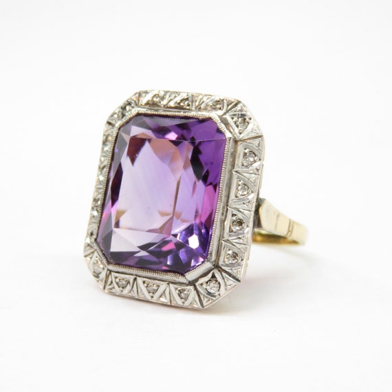 Art Deco 18k Gold and Platinum Amethyst and Diamon