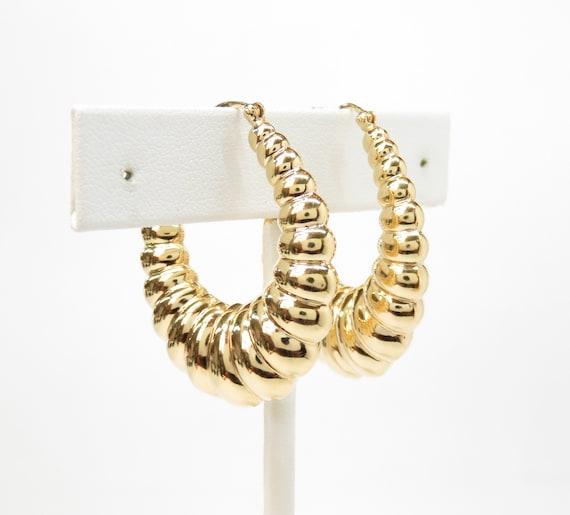 14k Gold Chunky Hoop Earrings; 14k Gold Hoops; Vi… - image 2