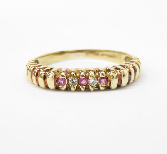 Victorian 14k Gold Ruby and Diamond Band Ring; Vin