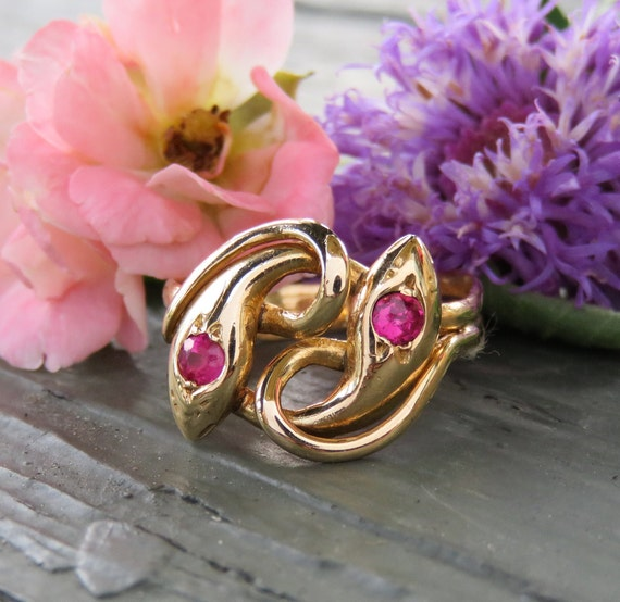 Victorian 14k Gold and Ruby Double Headed Snake Ri