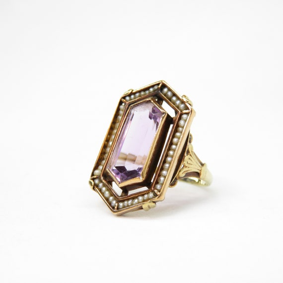 Victorian 14k Gold Amethyst and Seed Pearl Ring; V